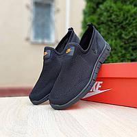 Кроссовки мужские Nike черные, Найк, дышащий материал, прошиты. Код OD-10165
