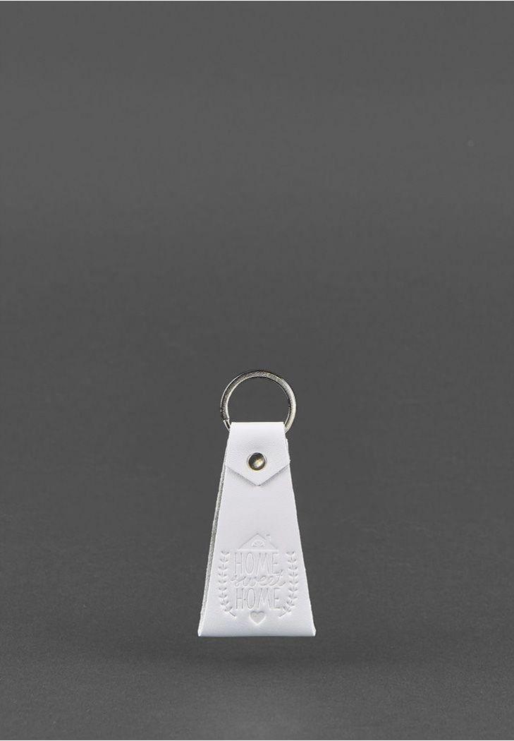 Женский кожаный брелок для ключей. Цвет белый