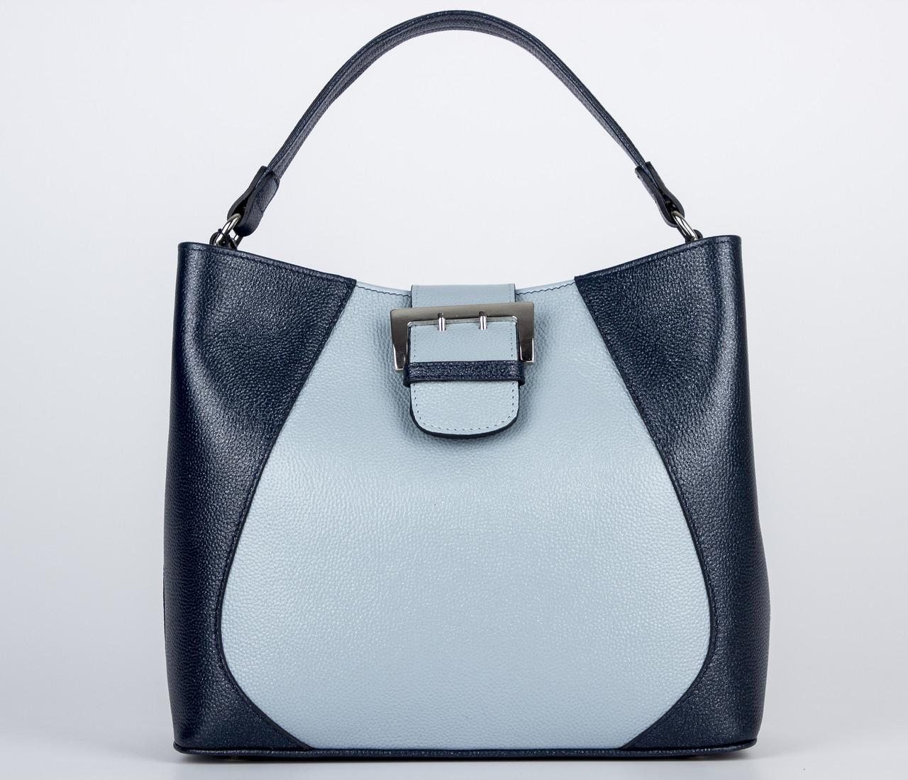 Сумка Assa 1132 женская, кожаная голубая / черная
