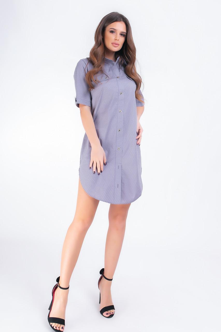 Платье- рубашка, арт 827, белый горошек, цвет графит