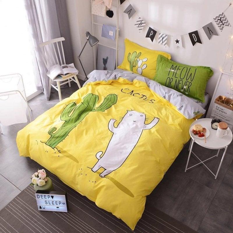 Постель КОТ и КАКТУС, размер евро / цвет желтый. Комплект постельного белья. Ткань Бязь