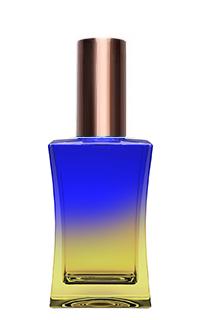 СИНЕ-ЖЕЛТЫЙ Флакон для парфюмерии ШАБО 35 мл. с металлическим спреем КОРИЧНЕВЫЙ