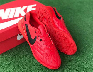 Сороконожки футбольные Nike Tiempo Ligera IV TF красные