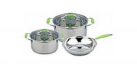 Набор кастрюль из нерж. стали со стеклянной крышкой + сковородка 24см, Con Brio CB-1149 (3л, 6,2л),