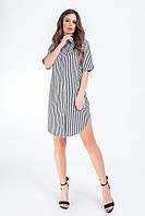Платье- рубашка, арт 827, черная полоска