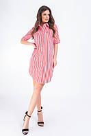 Платье- рубашка, арт 827, красная полоска