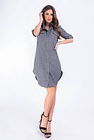 Платье- рубашка, арт 827,темно-серый однотон, ткань коттон-лен