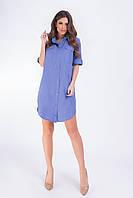 Платье- рубашка, арт 827,электрик однотон, ткань коттон-лен