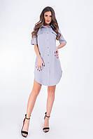 Платье- рубашка, арт 827,светло-серый однотон, ткань коттон-лен