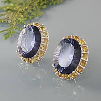 Серьги мистик топаз серебряные вечерние яркие синие натуральные камни цитрин