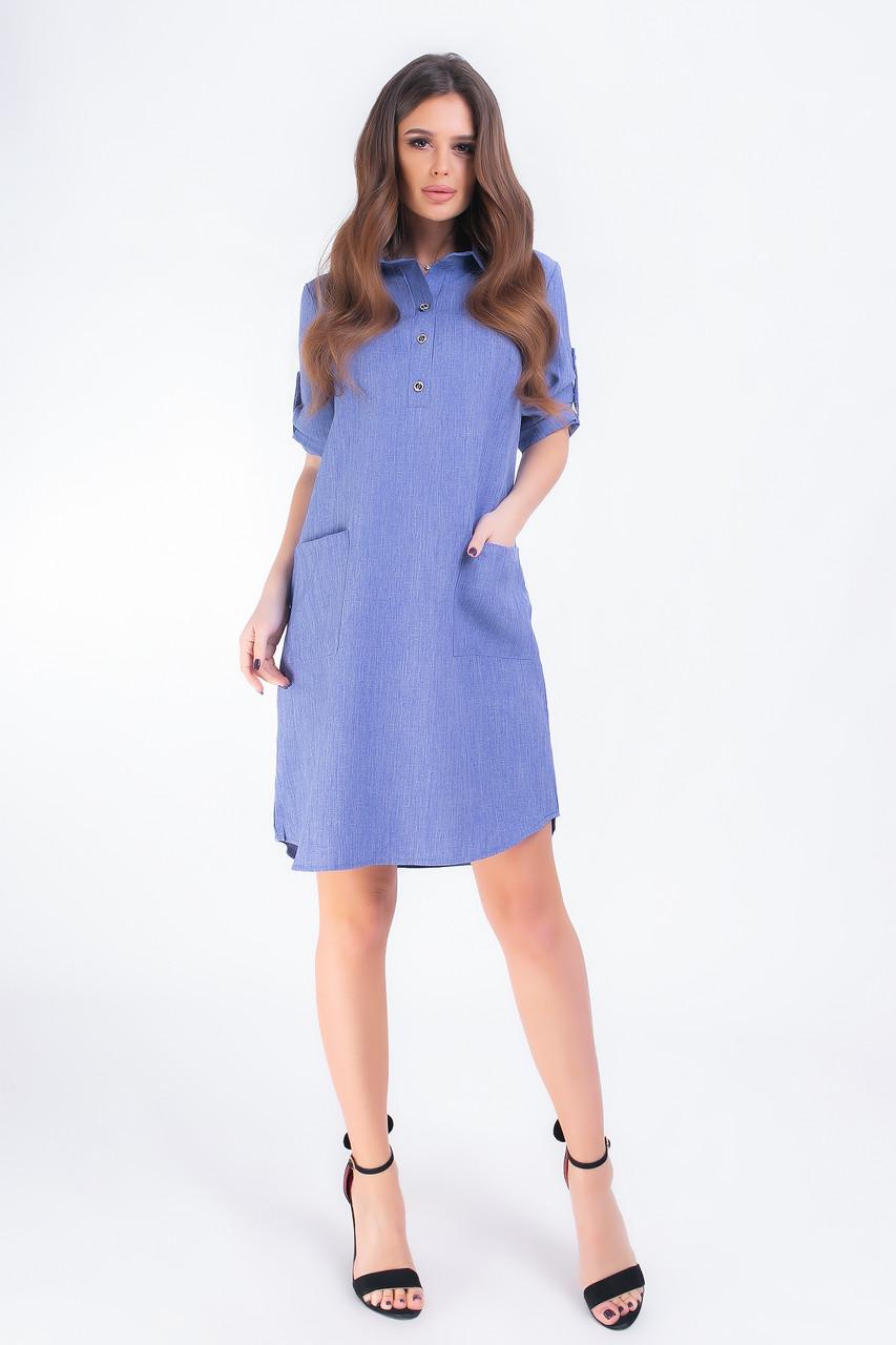 Платье- рубашка с карманами, арт 831, горошек, цвет джинс однотон
