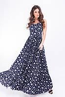 Летнее платье в пол, сарафан арт.162 принт мелкий цветок на темно-синем фоне