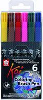 Набор маркеров-кисточек Koi Coloring Brush 6 цветов Sakura XBR6B1, 316799