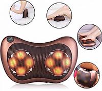 ✅ Массажер Massage pillow CHM-8028 (4 ролика), массажная подушка для дома и машины   масажер (Гарантия 12 мес)