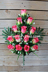 Искусственные цветы - Роза с гипсофилой композиция, 65 см