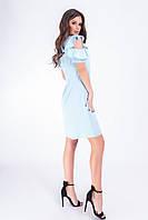 Платье с рюшами на плечах 783 светло-голубой, фото 1
