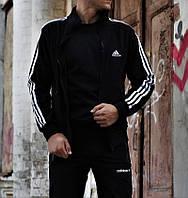 Спортивный костюм мужской весна, осень Adidas черный. Живое фото