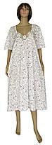 Ночная рубашка женская трикотажная с кружевом 03264 Аппликация Батал белая с фиолетовым рисунком 66-68