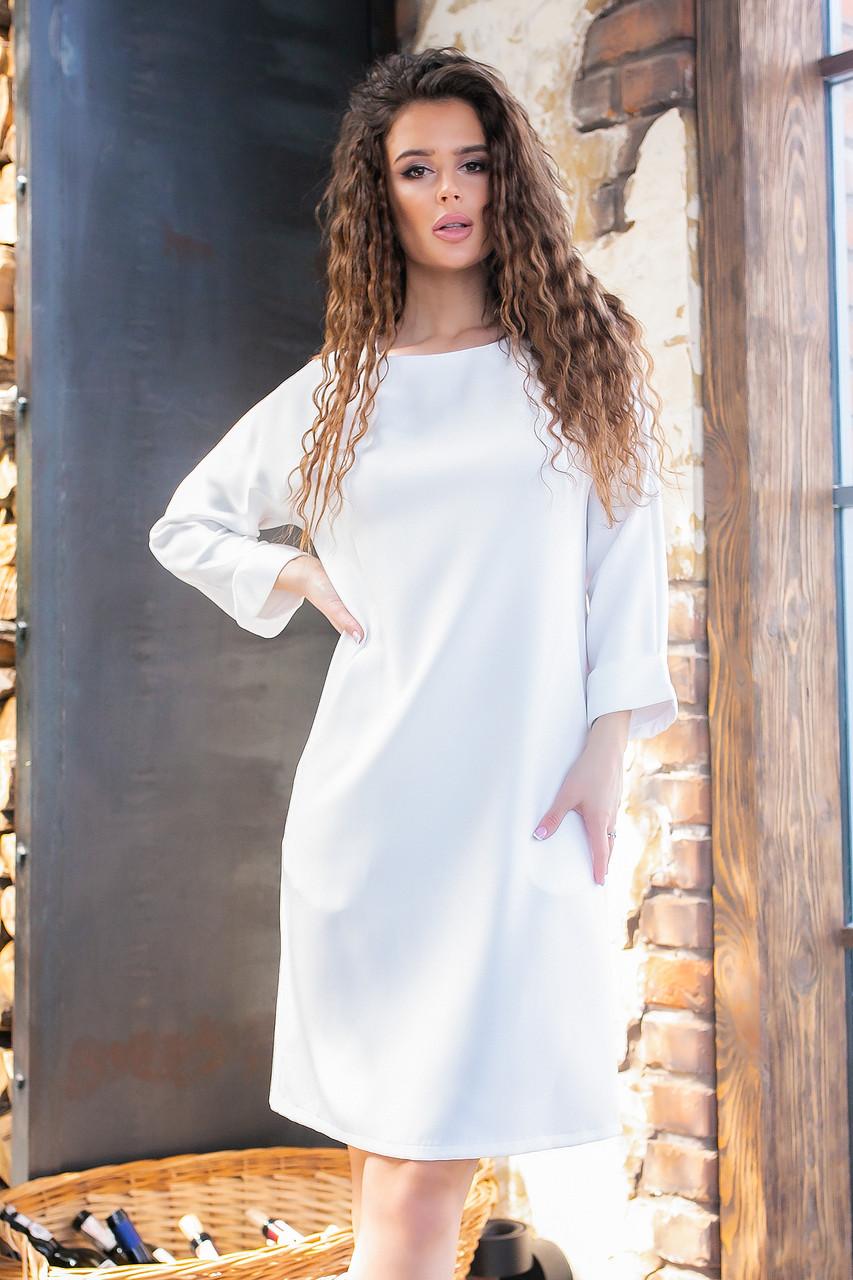 Платье с карманами, ткань креп, арт 772 , цвет молочный