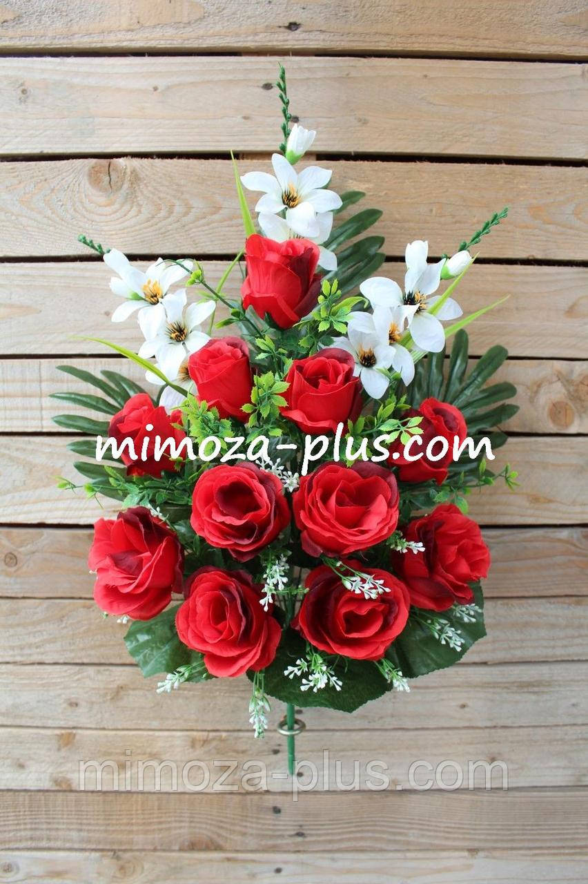 Искусственные цветы - Роза с гладиолусом композиция