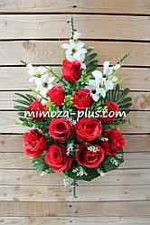 Искусственные цветы - Роза с гладиолусом композиция, 65 см