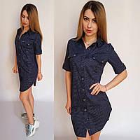 Летнее платье-рубашка (темно-синее в горошек) арт 827