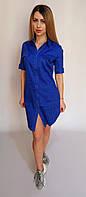 Летнее платье-рубашка (ярко-синяя в горошек) арт 827, фото 1