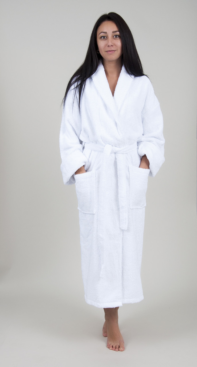 Халат-шаль махровый белый 400