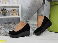 Женские замшевые туфли на платформе, черные, код SL-896