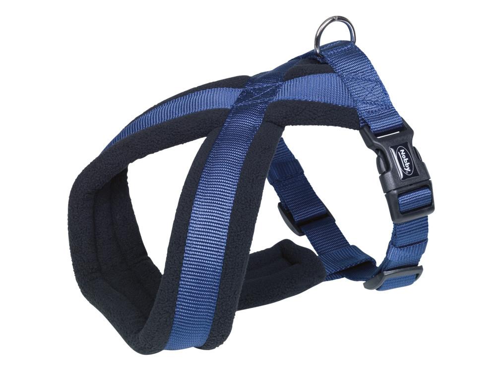 Шлея для собак Classik Comfort Nobby, нейлон-флис, S/ 35-50 см, Синий