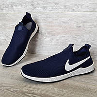 40, 43 і 44 р. Літні чоловічі мокасини - кросівки тканинні синього кольору  (Бн-11с)