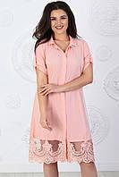 Платье рубашка арт. А402 с кружевом персиковое / персик / персикового цвета
