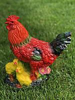 Фигура садовая птица Курица с цыплятами, 33 см