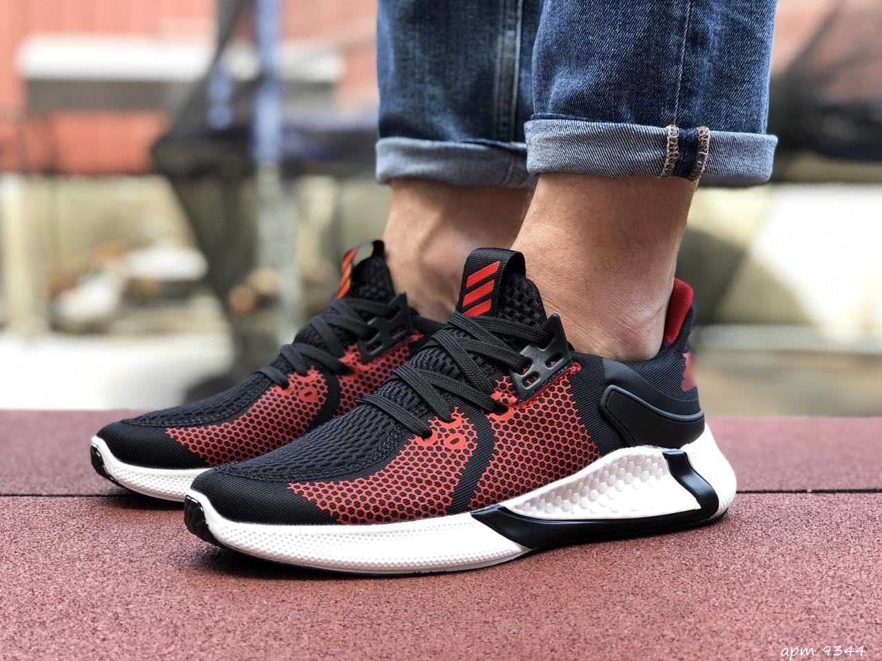 Мужские летние кроссовки Adidas,черные с красным,сетка