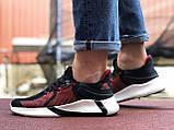 Мужские летние кроссовки Adidas,черные с красным,сетка, фото 2