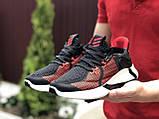 Мужские летние кроссовки Adidas,черные с красным,сетка, фото 3