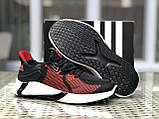 Мужские летние кроссовки Adidas,черные с красным,сетка, фото 4