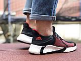 Мужские летние кроссовки Adidas,черные с красным,сетка, фото 5