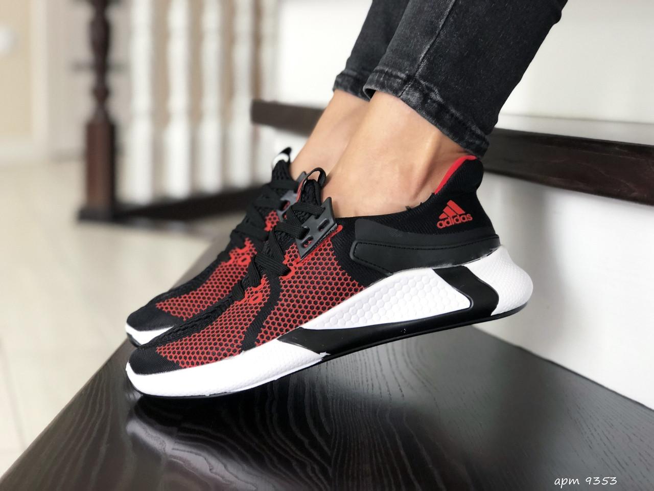 Женские летние кроссовки Adidas,черные с красным, сетка