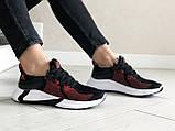 Женские летние кроссовки Adidas,черные с красным, сетка, фото 2