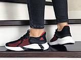 Женские летние кроссовки Adidas,черные с красным, сетка, фото 3