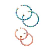 Набор разноцветных серег - колец