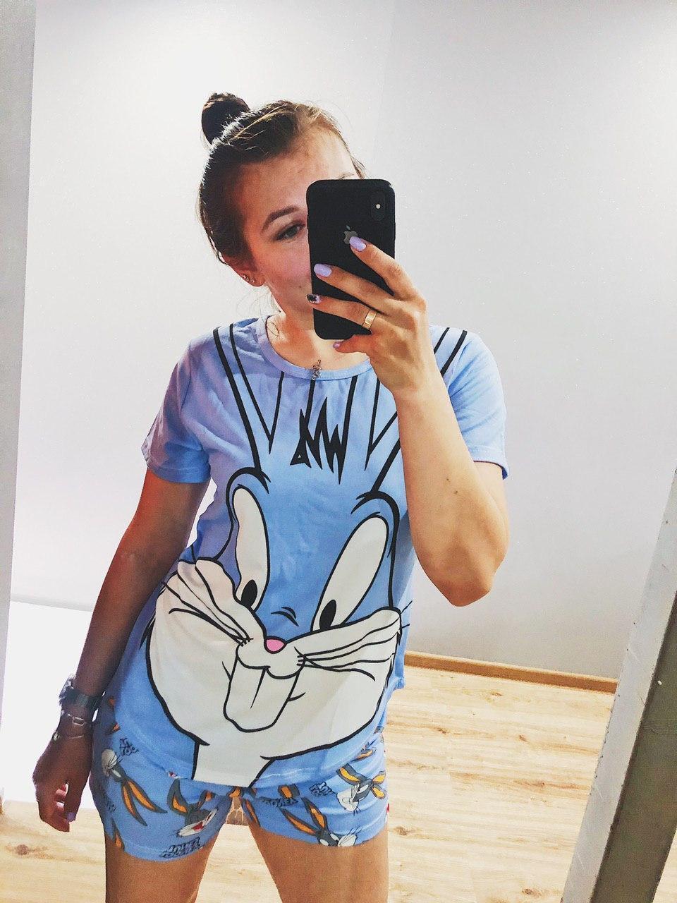 Піжама Трикотажна Футболка і шорти Кролик Бакс Банні Блакитного кольору
