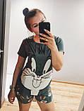 Піжама Трикотажна Футболка і шорти Кролик Бакс Банні Блакитного кольору, фото 2