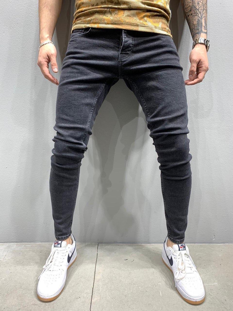Джинсы - мужские темно-серые джинсы люкс качества