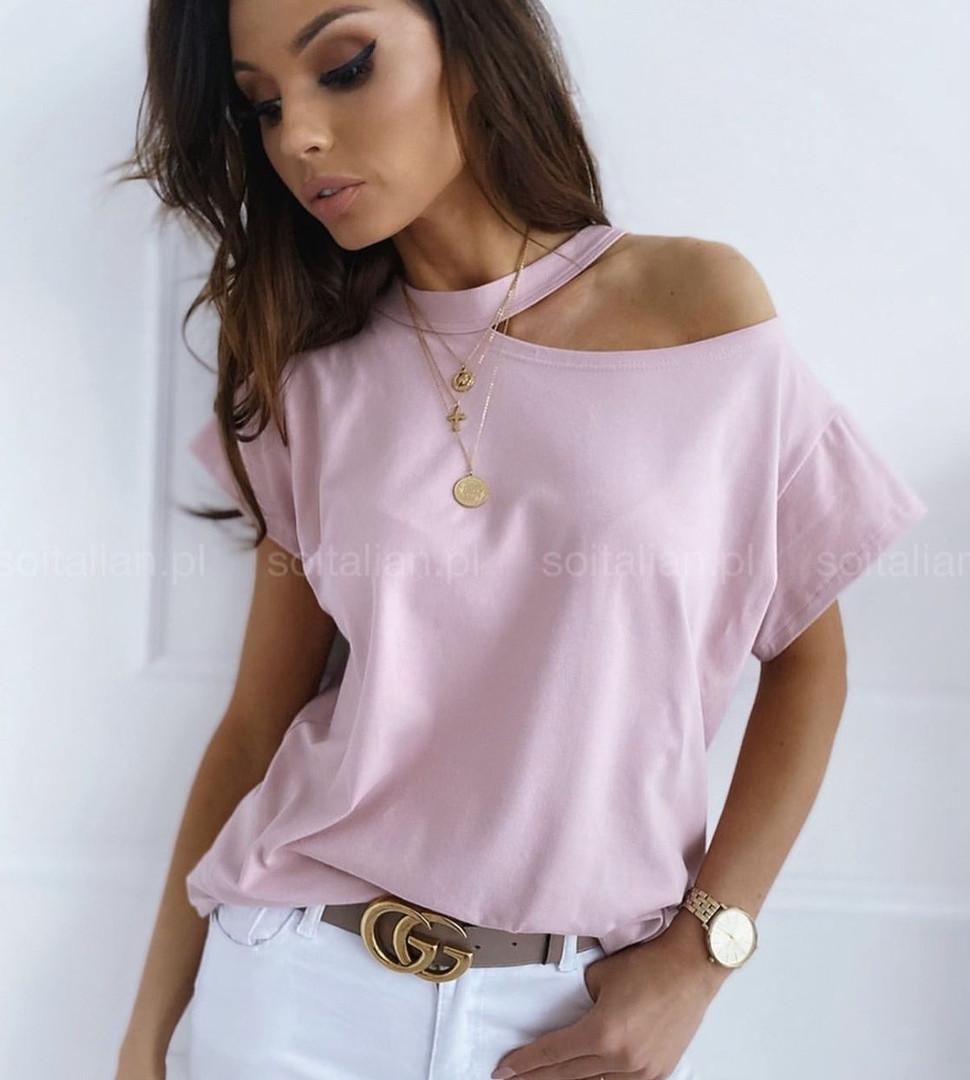 Женская стильная футболка,цвет пудра