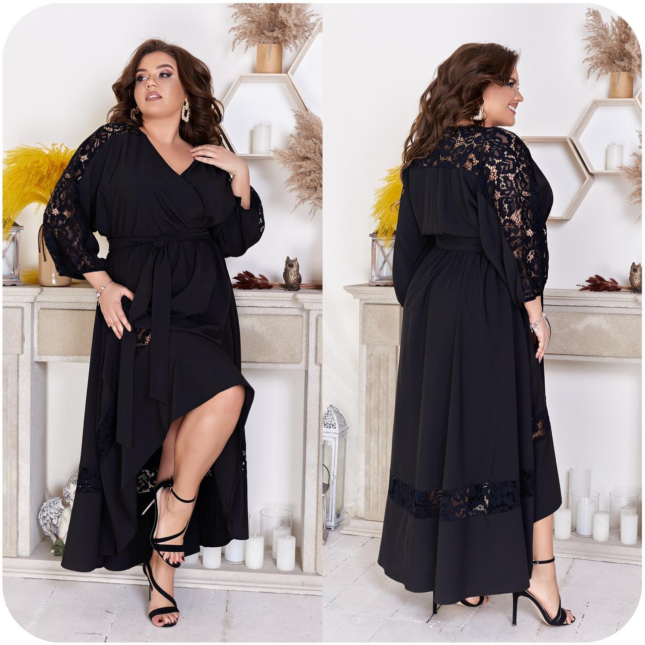 Шикарное летнее платье с запахом на груди и кружевными вставками, батал большие размеры