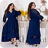 Шикарне літнє плаття з запахом на грудях і мереживними вставками, батал великі розміри, фото 3