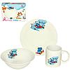 """Детский набор посуды """"Бегемотик"""" (тарелка, миска, чашка)"""