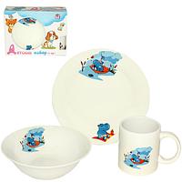 """Детский набор посуды """"Бегемотик"""" (тарелка, миска, чашка), фото 1"""